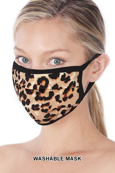 Door Buster! ONE SIZE Zenana Leopard Washable Face Mask (Multiple Colors)