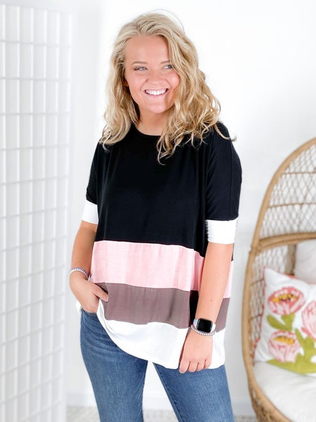 PLUS/REG Pink & Black Color Block Oversized Top