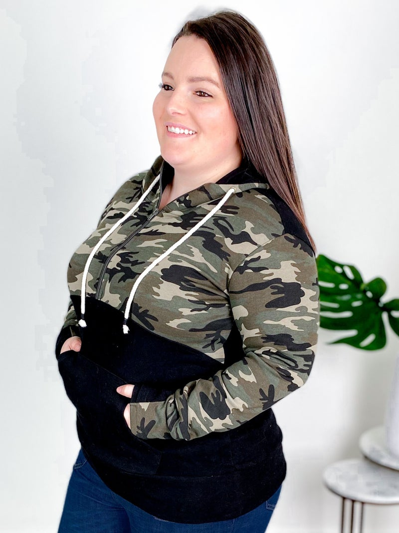 PLUS/REG Ampersand Camo Black Hoodie With Kangaroo Pocket