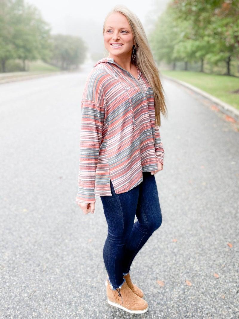 Multi Color Stripe Hooded V Neck Sweater
