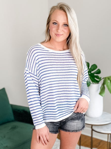 Long Sleeve Striped Knit Sweater (Multiple Colors)