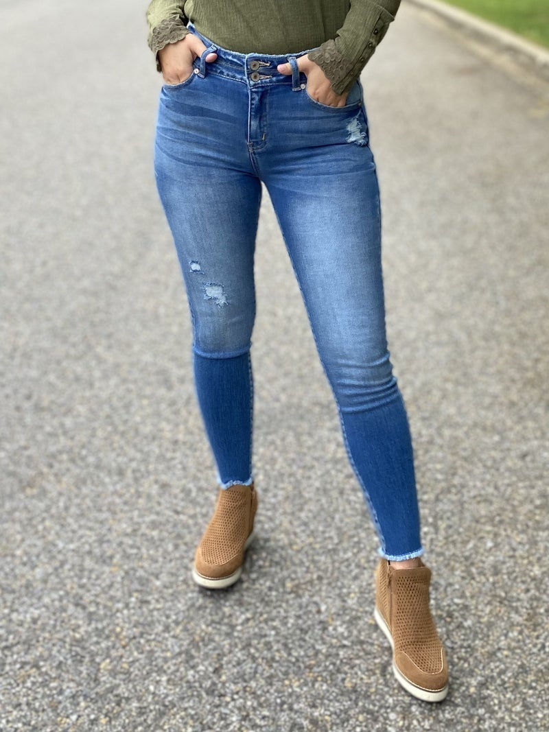 KanCan Sunday Morning High Rise Double Button Skinny Jeans
