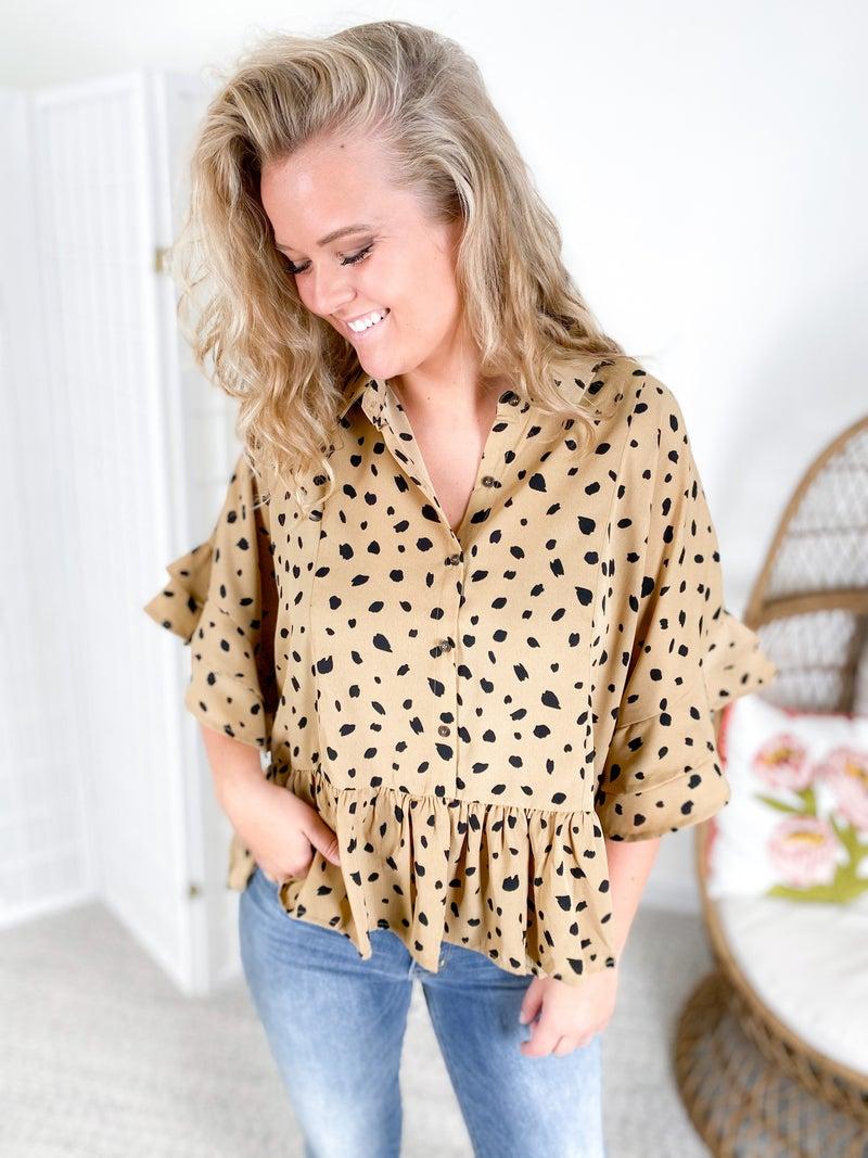 PLUS/REG Mustard Dalmatian Print Ruffle Sleeve Button Down Top