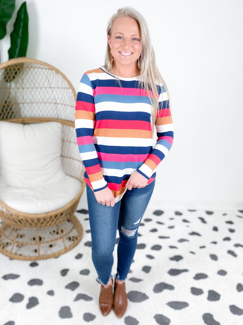 Pink & Navy Multi Color Stripe Top