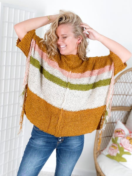Stripes Sweater Poncho with Fringe Sides