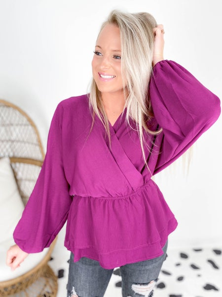 PLUS/REG Violet Faux Wrap Blouse with Ruffle and Dolman Sleeves