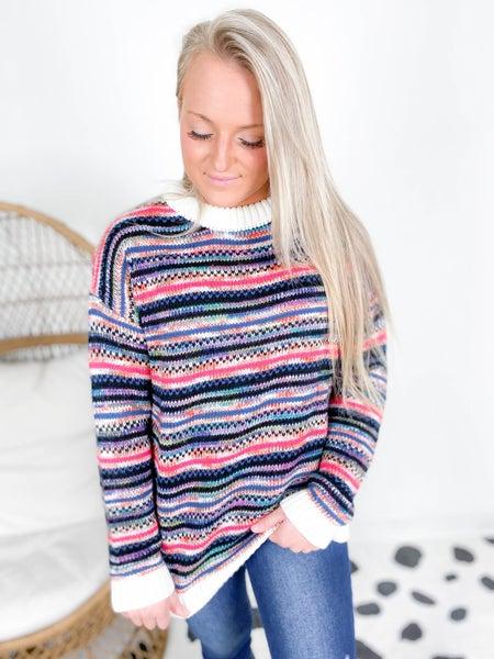 Rainbow Knit Stripe Sweater