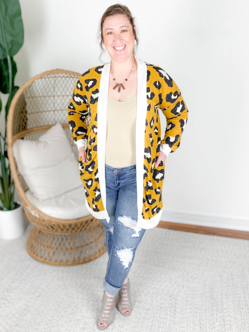 PLUS/REG Colorful Leopard Print Open Cardigan (Multiple Colors)