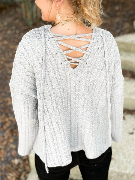 Oversized Cable Knit Sweater with Lace Up Back (Multiple Colors)