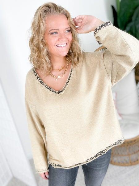 POL Reversible Leopard Print Boxy Sweater