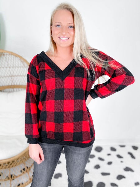 PLUS/REG Buffalo Plaid V Neck Top