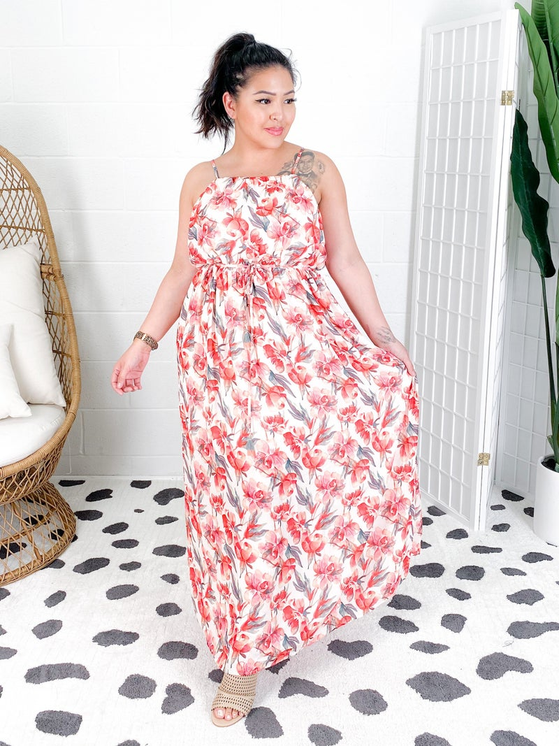 Pink Floral Sleeveless Maxi Dress