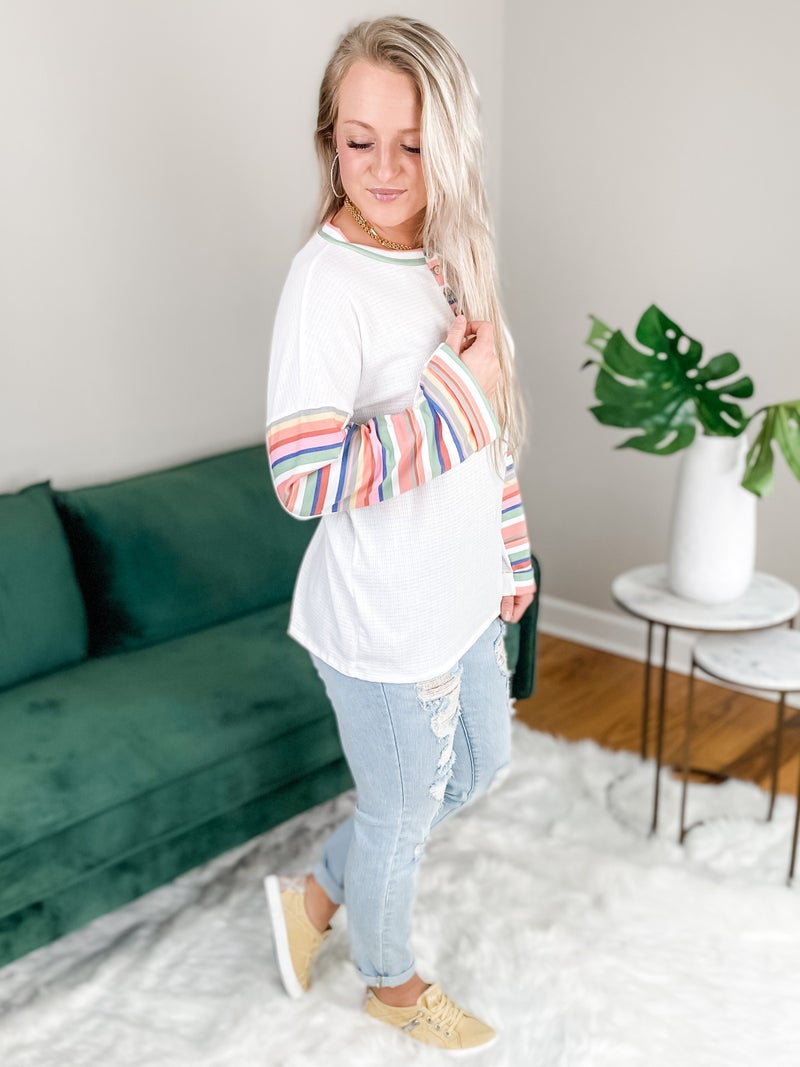 Long Sleeve Waffle Knit Top With Rainbow Stripe Arm Detail