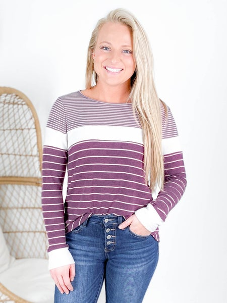 Round Neck Long Sleeve Color Block Striped Top