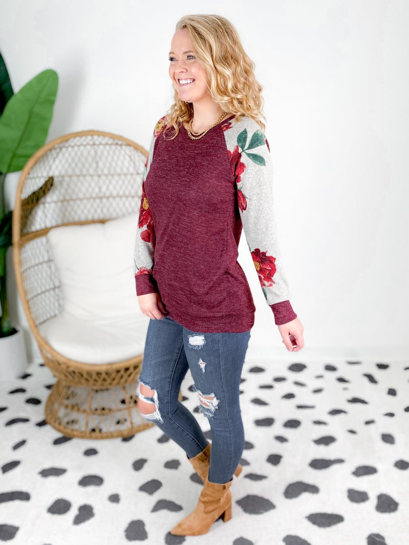 Long Sleeve Top With Floral Print Sleeves