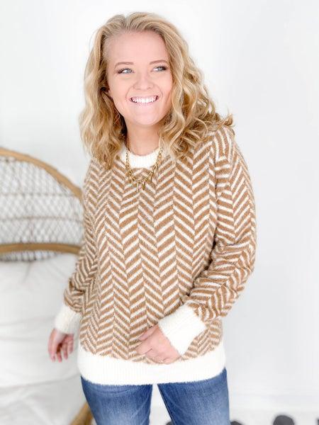 Fuzzy Chevron Zig Zag Sweater (Multiple Colors)