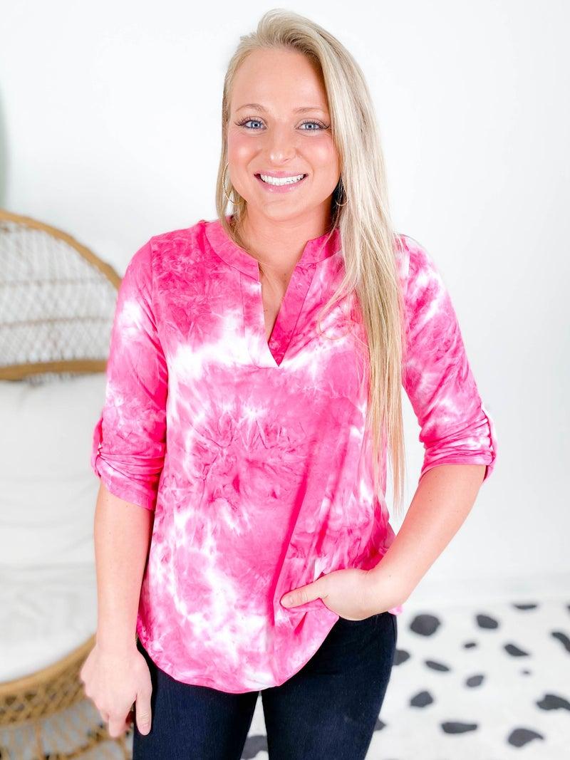 Hot Pink Tie Dye High Low Top