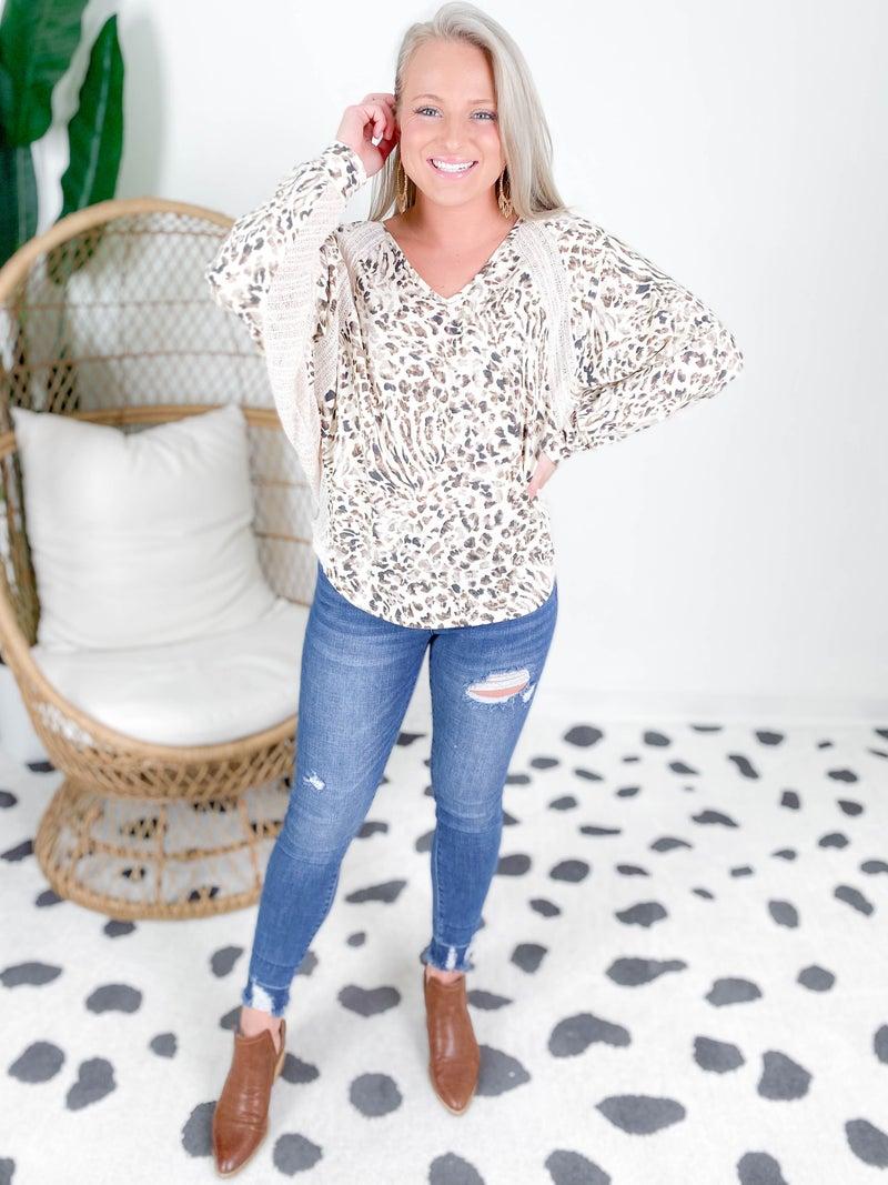 Cream Leopard Dolman Top With Contrast Hem