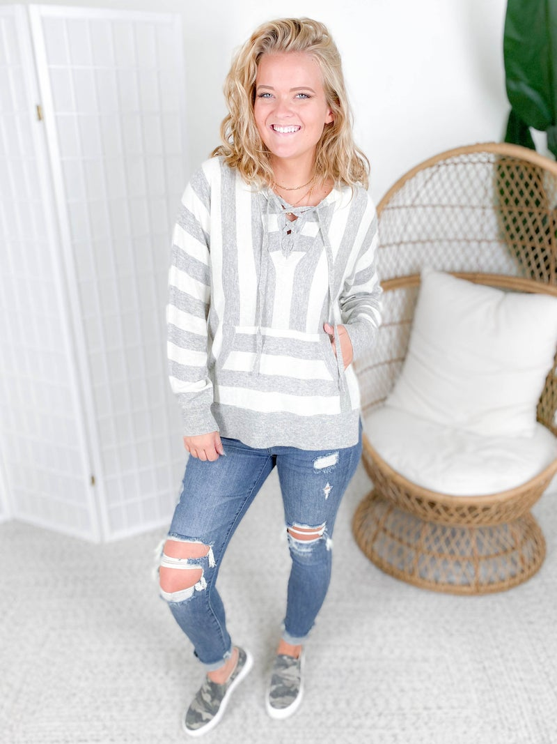Grey Striped Lace Up Neck Hoodie Sweater
