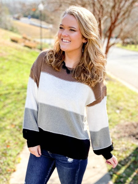 Taupe Multi Color Round Neck Color Block Sweater