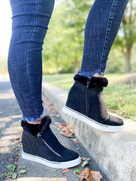 Fur Trim Wedge Sneaker (Multiple Colors)