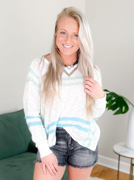 Mint And Blue Long Sleeve Stripe Knit Sweater