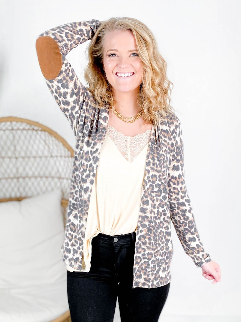 PLUS/REG Leopard Open Cardigan with Suede Elbow Patch