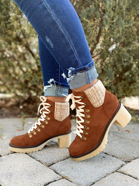 Camel Lace Up Suede Platform Ankle Boots with Chunky Heel