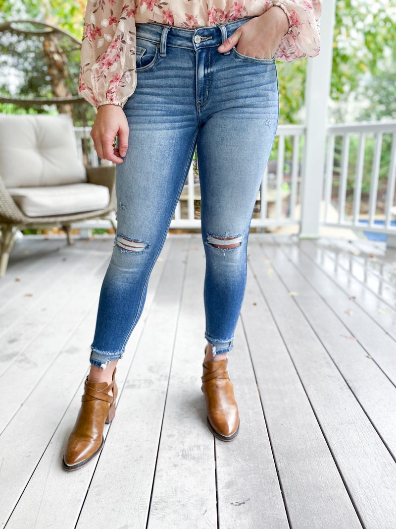 DOORBUSTER Kancan Showoff  Mid Rise Ankle Detail Skinny Jeans