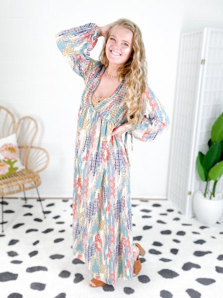 Paisley Print Long Sleeve Maxi Dress