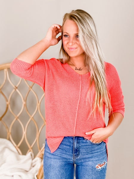 Solid 3/4 Sleeve V Neck Top (Multiple Colors)