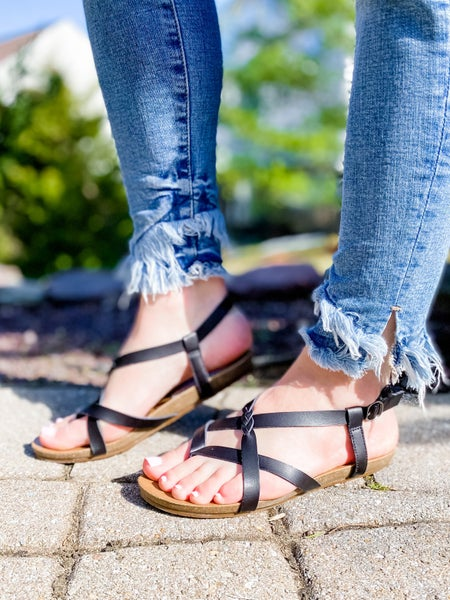 Blowfish Strappy Criss Cross Sandals With Braided Detail (Multiple Colors)