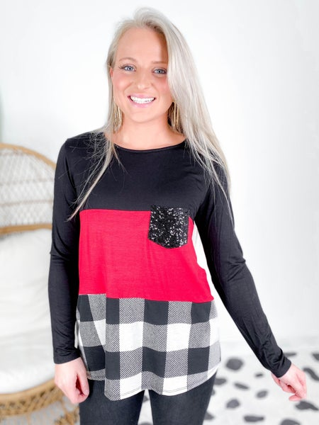 PLUS/REG Buffalo Plaid Color Block Top