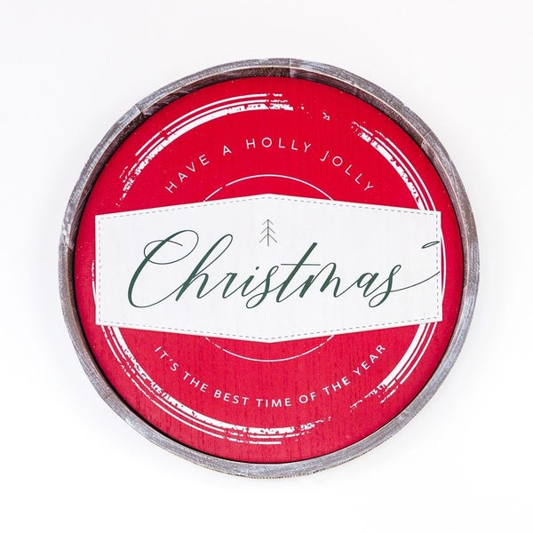 Christmas Round Wooden Sign 14x14