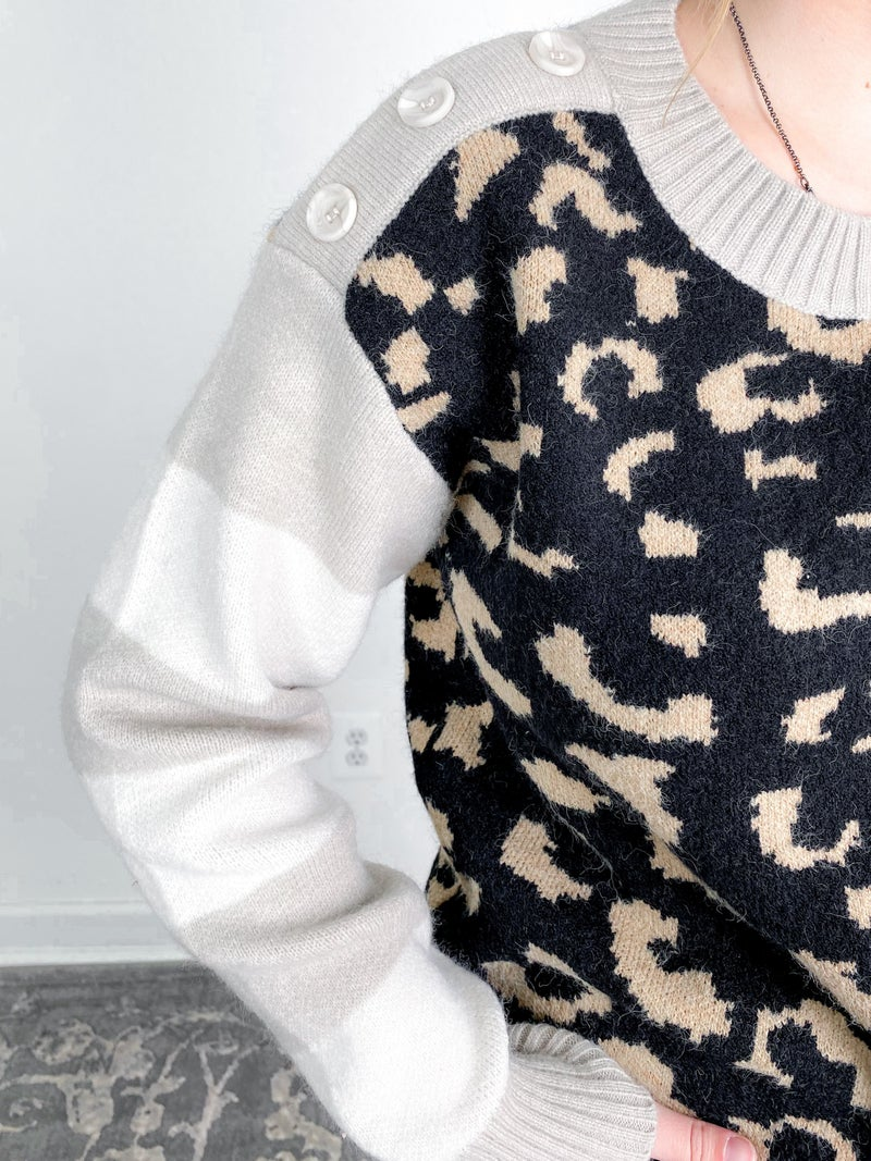 PLUS/REG  Long Sleeve Multi Print Knit Sweater