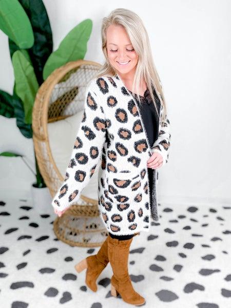 Fuzzy Leopard Open Front Cardigan