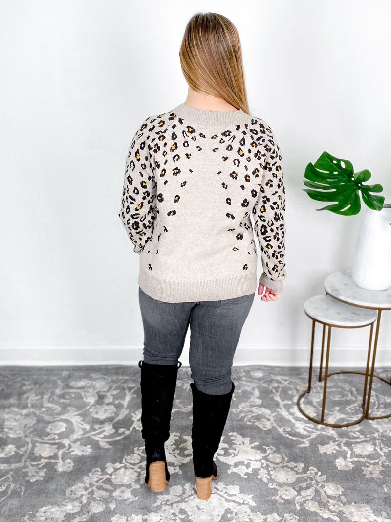 Easel Leopard Knit Pull Over Sweater (Multiple Colors)