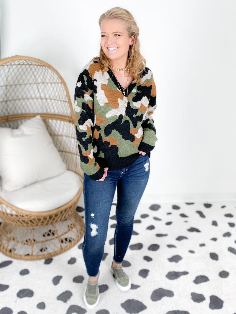 Multi Color Camo V-Neck Sweater