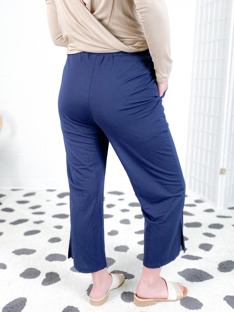 Textured Fabric Pant with Waist Tie (Multiple Colors)