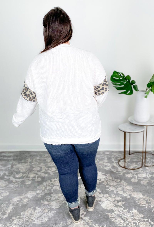 PLUS/REG Ivory Waffle Knit With Animal Print Detail