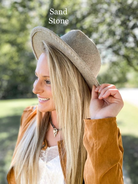 Heathered Flat Brim Hat with Simple Leather Band (Multiple Colors)