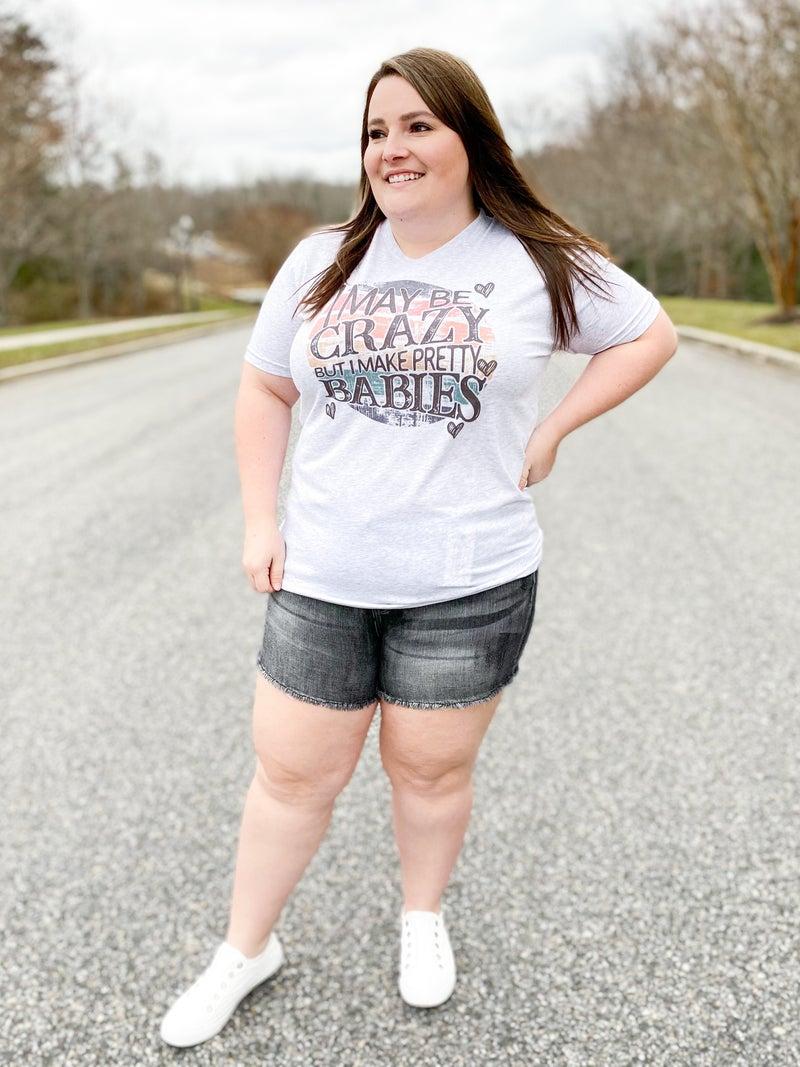 PLUS/REG Judy Blue Black Fray Hem Shorts