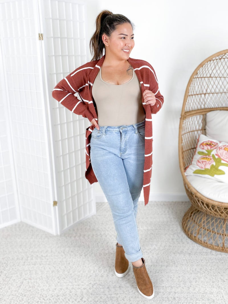 Open Front Striped Cardigan with Pockets (Multiple Colors)