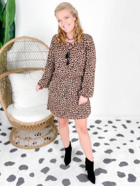 Leopard Print Tassel Tie Mini Dress