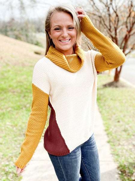 Color Block High Low Turtle Neck Sweater (Multiple Colors)