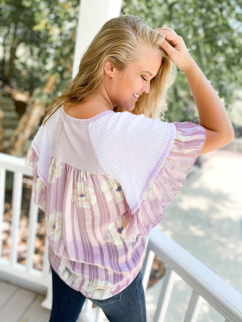 Lilac Flower Waffle Knit Top with Twist Front & Butterfly Sleeves