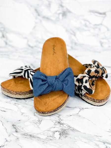 Bow Tie Footbed Slide Sandals (Multiple Colors)