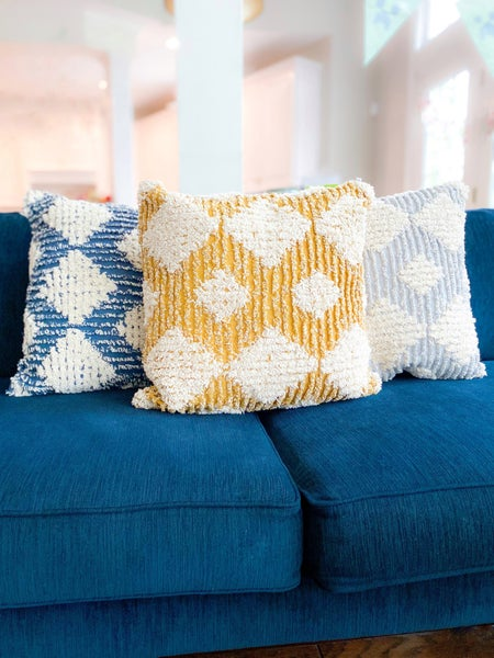 Mid Century Modern Diamond Throw Pillow (Multiple Colors)