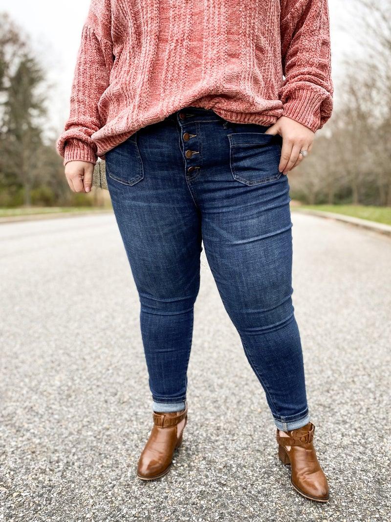 PLUS/REG Poppy Pockets (Pop!) Judy Blue Patch Pocket Button Fly Skinny Jeans