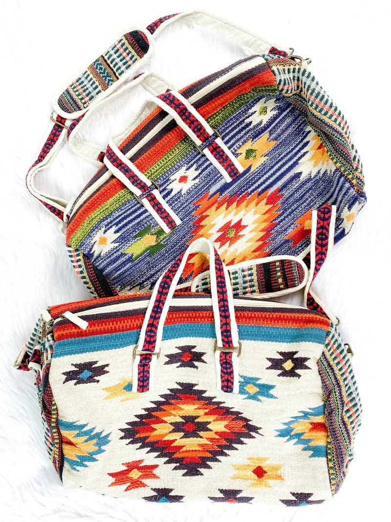 Handmade Ethnic Navajo Pattern Duffel Bag (Multiple Colors)